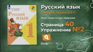 Страница 40 Упражнение 2 «Ударение» - Русский язык 1 класс (Канакина, Горецкий)