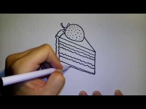 วาดการ์ตูนกันเถอะ สอนวาดรูป การ์ตูนขนมเค้ก สตรอว์เบอร์รี่ ชอร์ทเค้ก