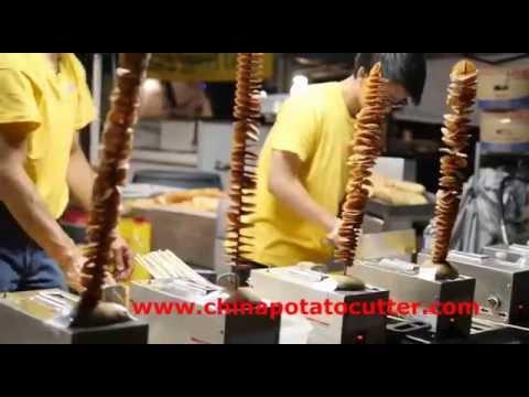 Tornado Fries  asian Street Food potato on a stick Tornado Potatoes twister potato cutter