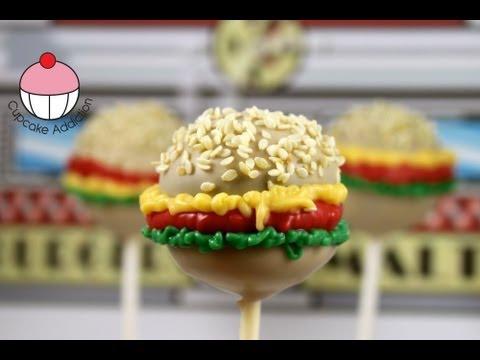 Burger Cakepops! Make Hamburger Cake Pops - A Cupcake Addiction How To Tutorial