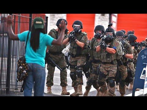 Scared White Police Confront Ferguson Protesters