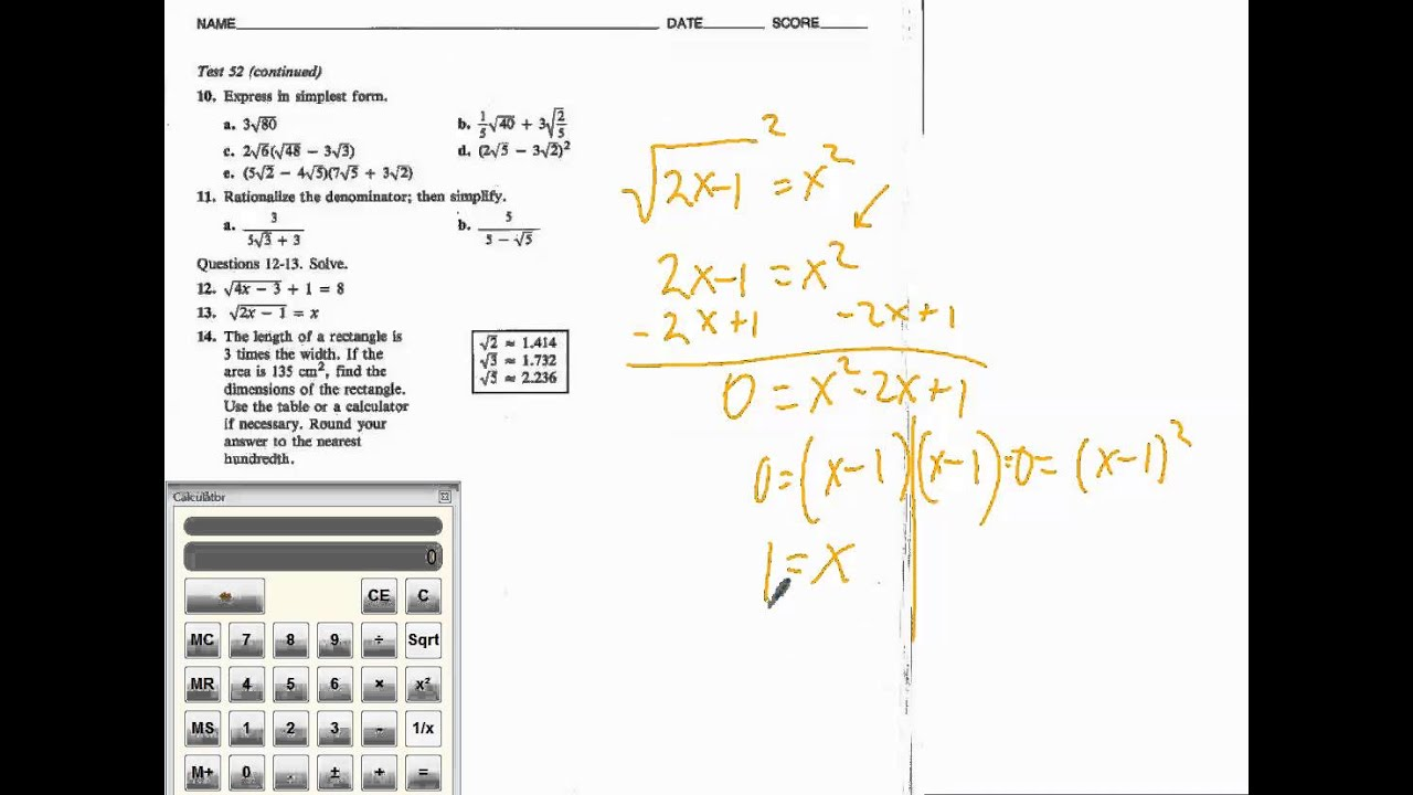 How to solve radical equations (chapter test form b # 12-14) - YouTube