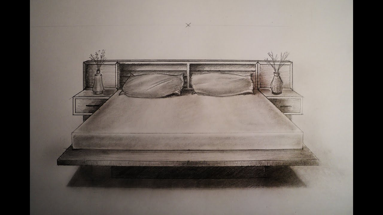 Bedroom drawing perspective - How To Draw One Point Perspective Bed Furniture