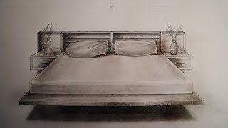 How to draw - One point perspective - bed, furniture
