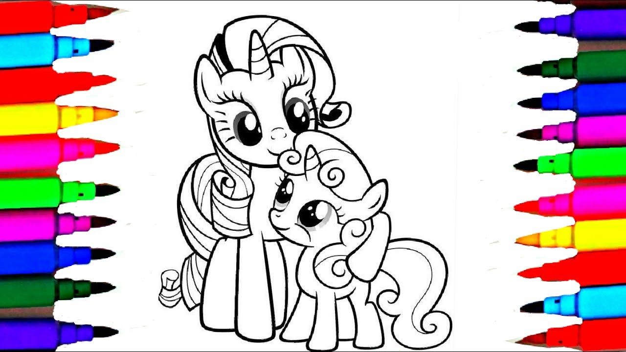 learn colors l how to draw and color mlp sweetie pie coloring