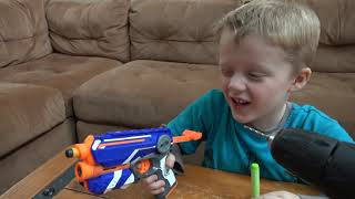 Nerf Vs Wild Lizard! Crazy Lizard Toy Runs Wild and the Boys take Action with Nerf Blasters!