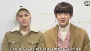 Download Video [ENG SUB] 161110 Chanyeol and Sehun at TianMao Double 11 Nature Republic MP3 3GP MP4