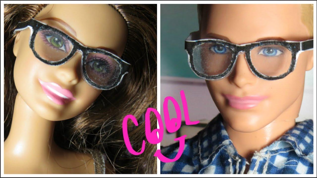 ebab86cdb Óculos para Barbie com Papel, Plástico e Fita Adesiva - YouTube