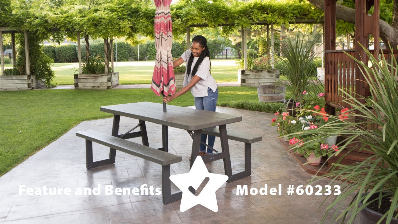 - Lifetime 6' W-Frame Folding Picnic Table Model 60233 Features