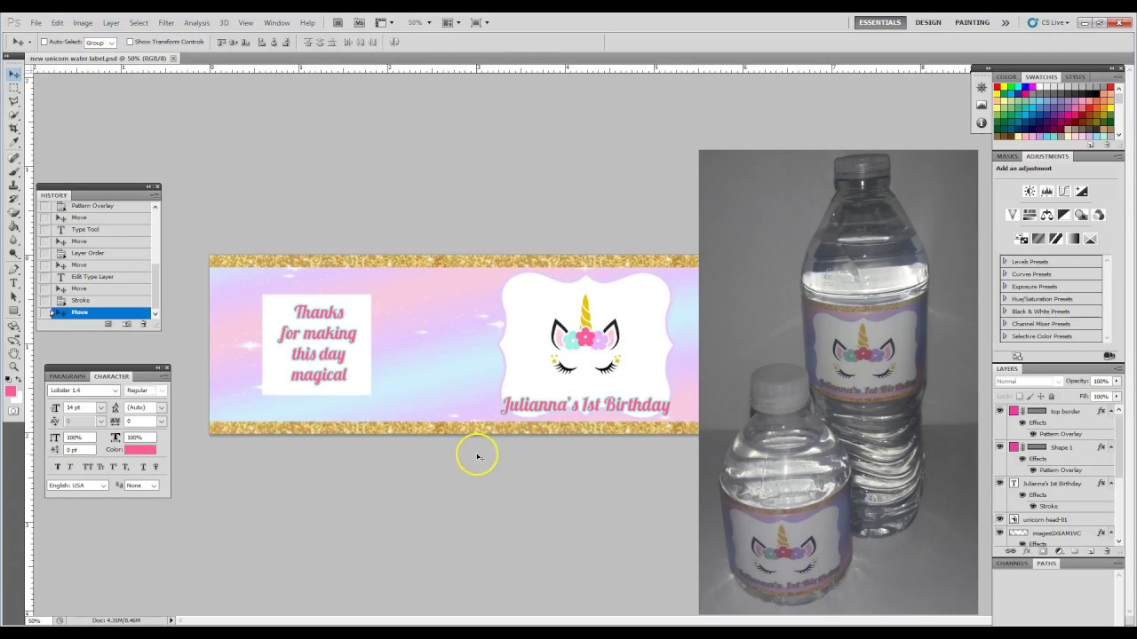 Creating Water Bottle Labels Using Photoshop Youtube