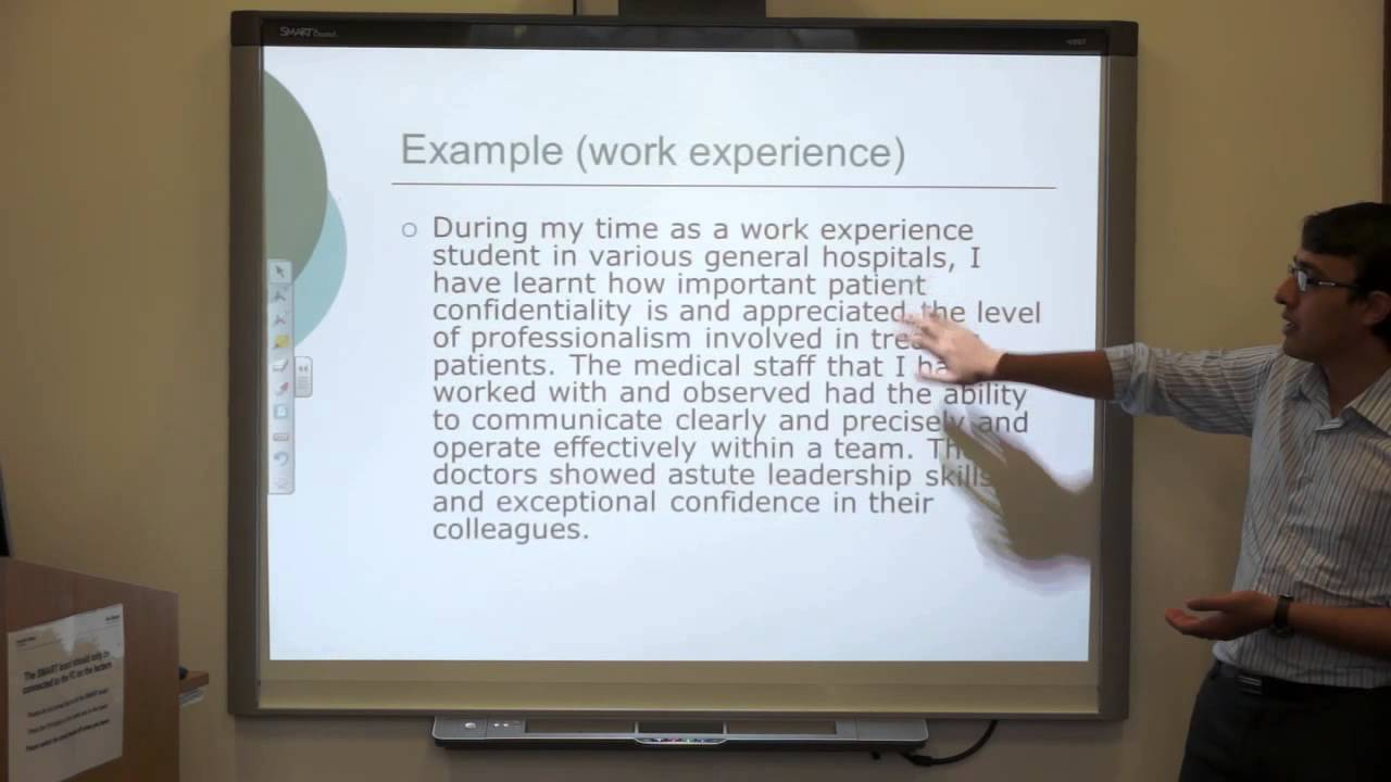 personal statement for medical school work experience 36 youtube