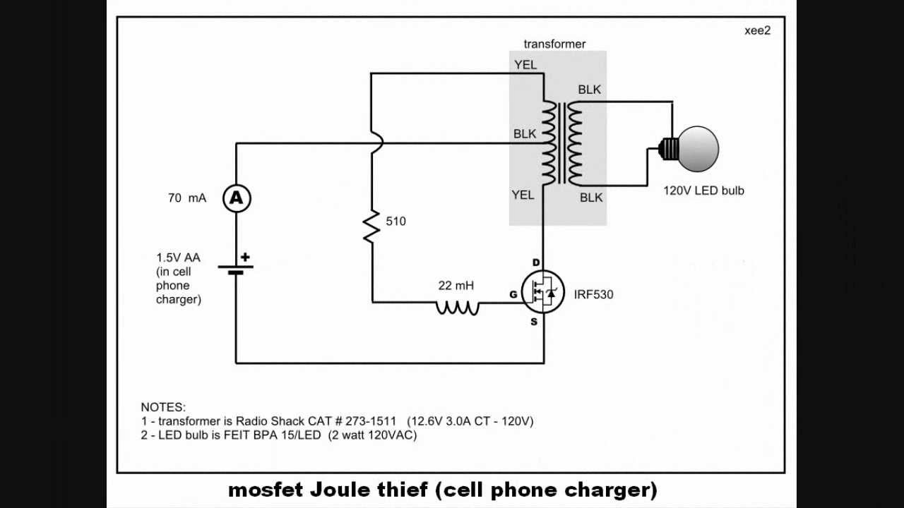 maxresdefault Joule Thief Schematic on flyback diode, led circuit, electromagnetic shielding, high power, parts list, voltage doubler, no torroid,