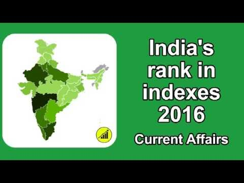 India ranking in world - Indexes 2016 - Current Affairs