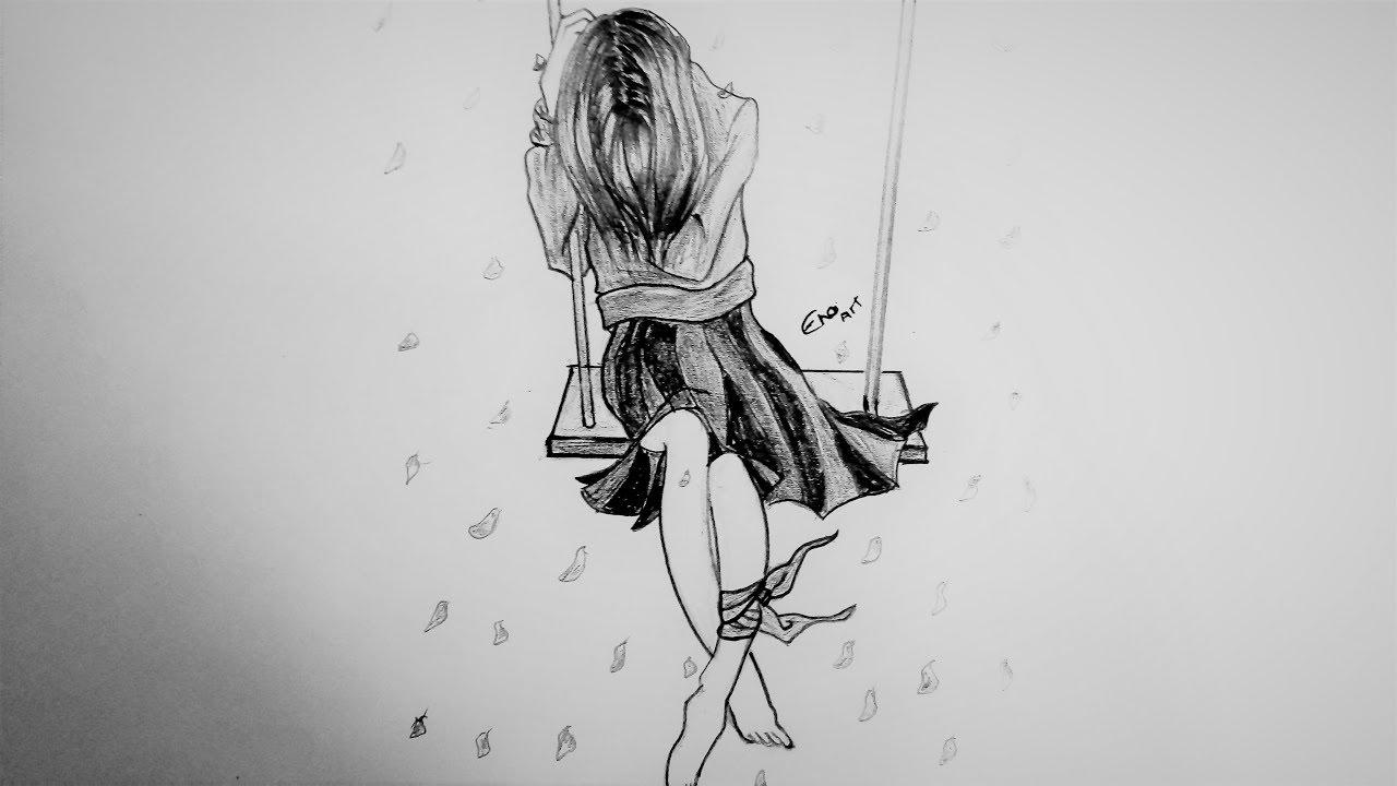رسم سهل بالرصاص بنت تجلس على ارجوحه خطوة بخطوة Youtube Drawings Girl Drawing