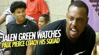 Jalen Green Lob Dunk from kid & watches Paul Pierce Coach his Squad