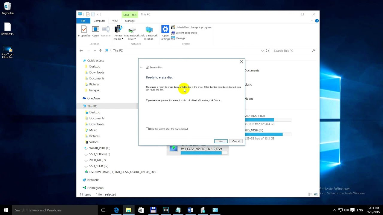 how to erase everything on windows 10
