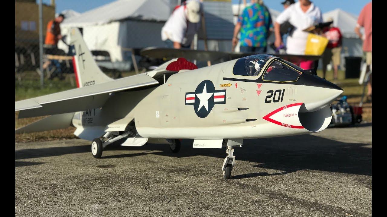 Large Scale F-8 Crusader Flight and Crash! -- Top Gun Invitational 2018