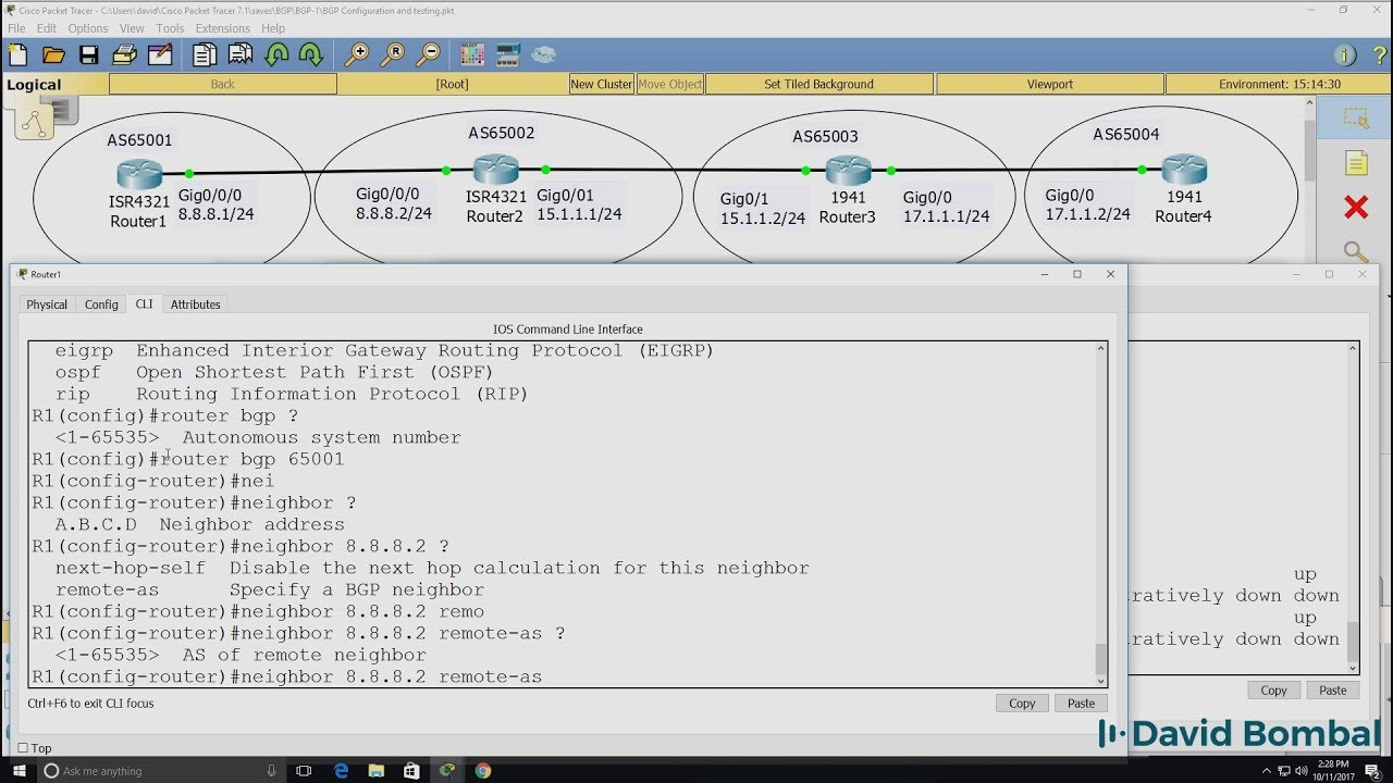 Cisco CCNA Packet Tracer Ultimate labs: BGP Configuration Lab 1: BGP  Answers Part 1
