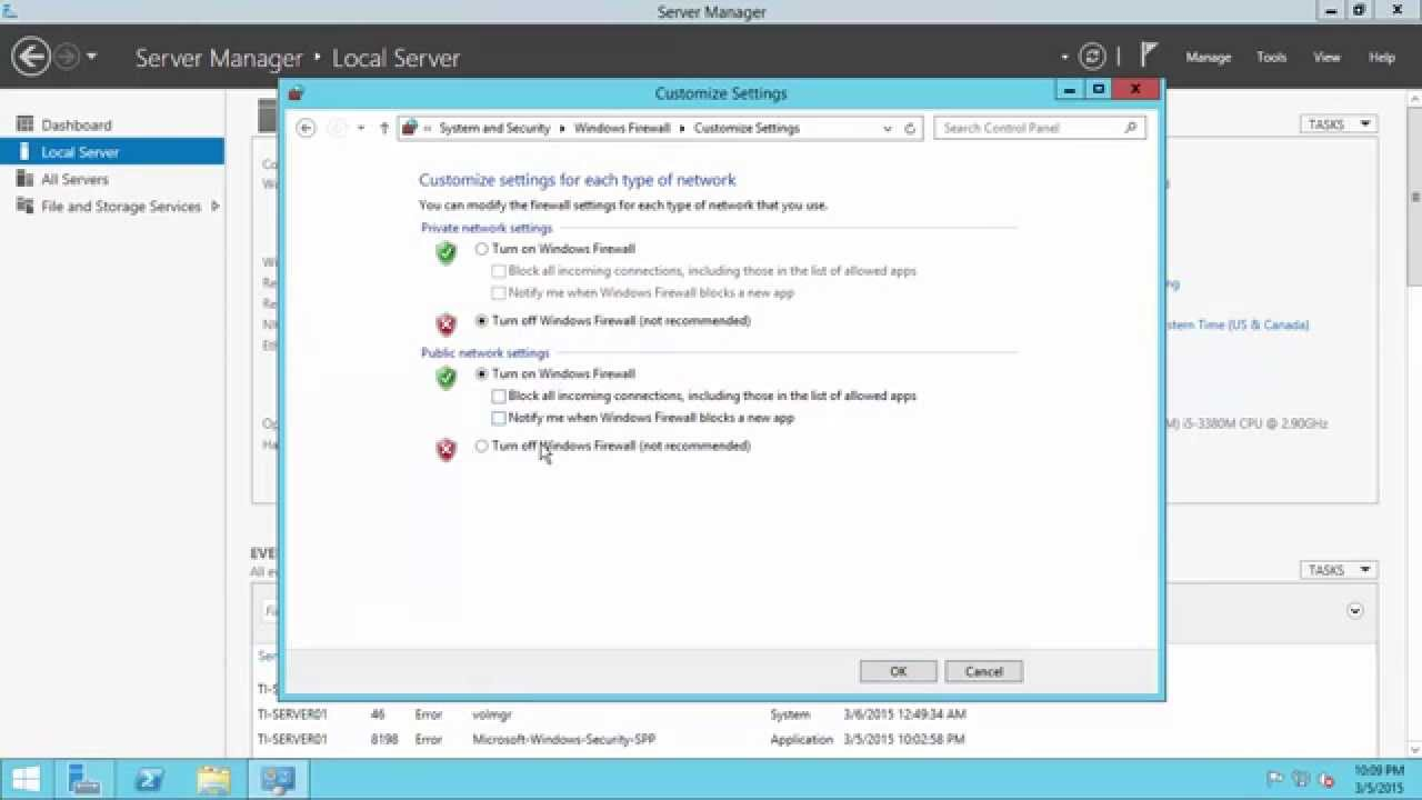 How to turn off firewall on windows server 2012 r2.