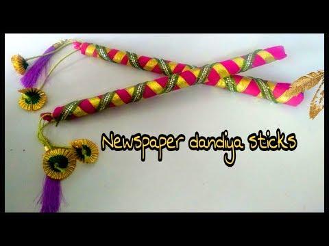 DIY eco friendly dandiya sticks | डांडिया समाचारपत्र | newspaper dandiya |  how to decorate sticks