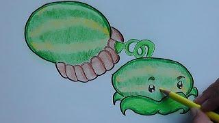 Dibujar y pintar a Melonpulta (Plantas vs Zombies) - Draw and paint Melonpulta