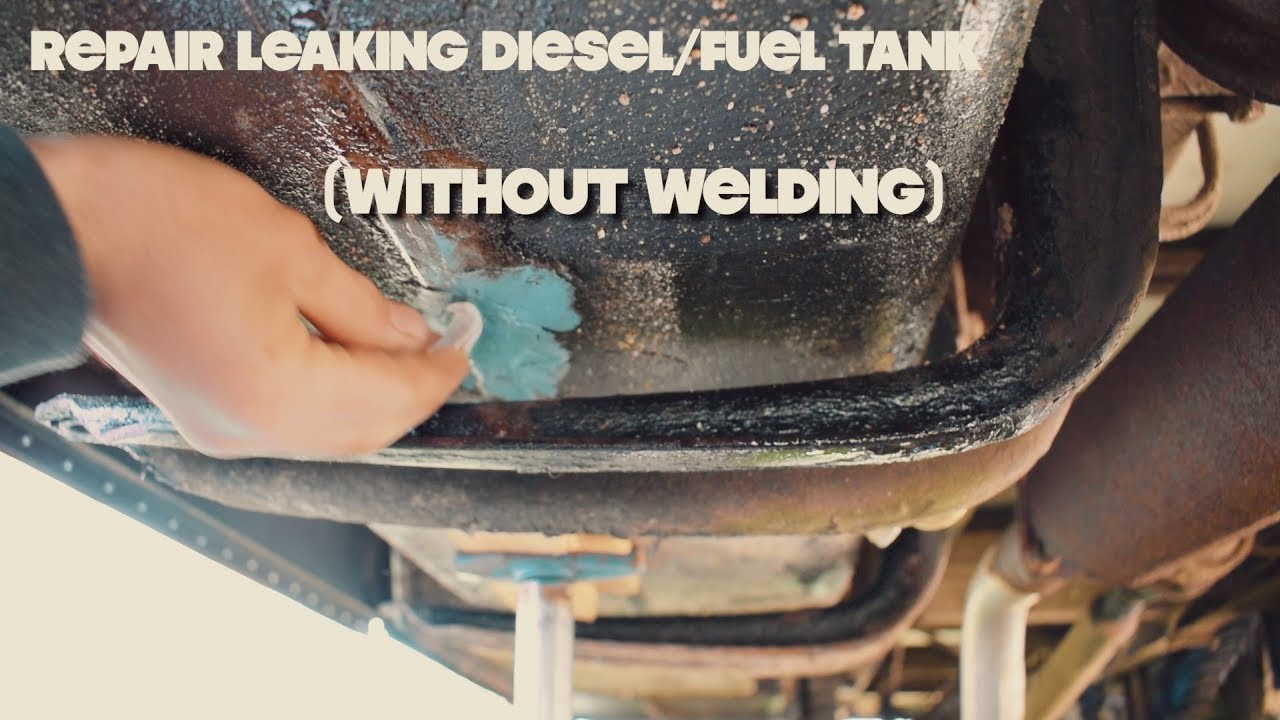 How To Seal A Leaking Diesel-Tank (without welding) ⎮ Skoolie bus  conversion 35