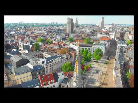 Antwerp, Belgum Drone video of the city, 4K
