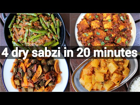 4 easy dry curries recipes in 20 minutes | dry dinner sabji recipes | quick dinner recipes