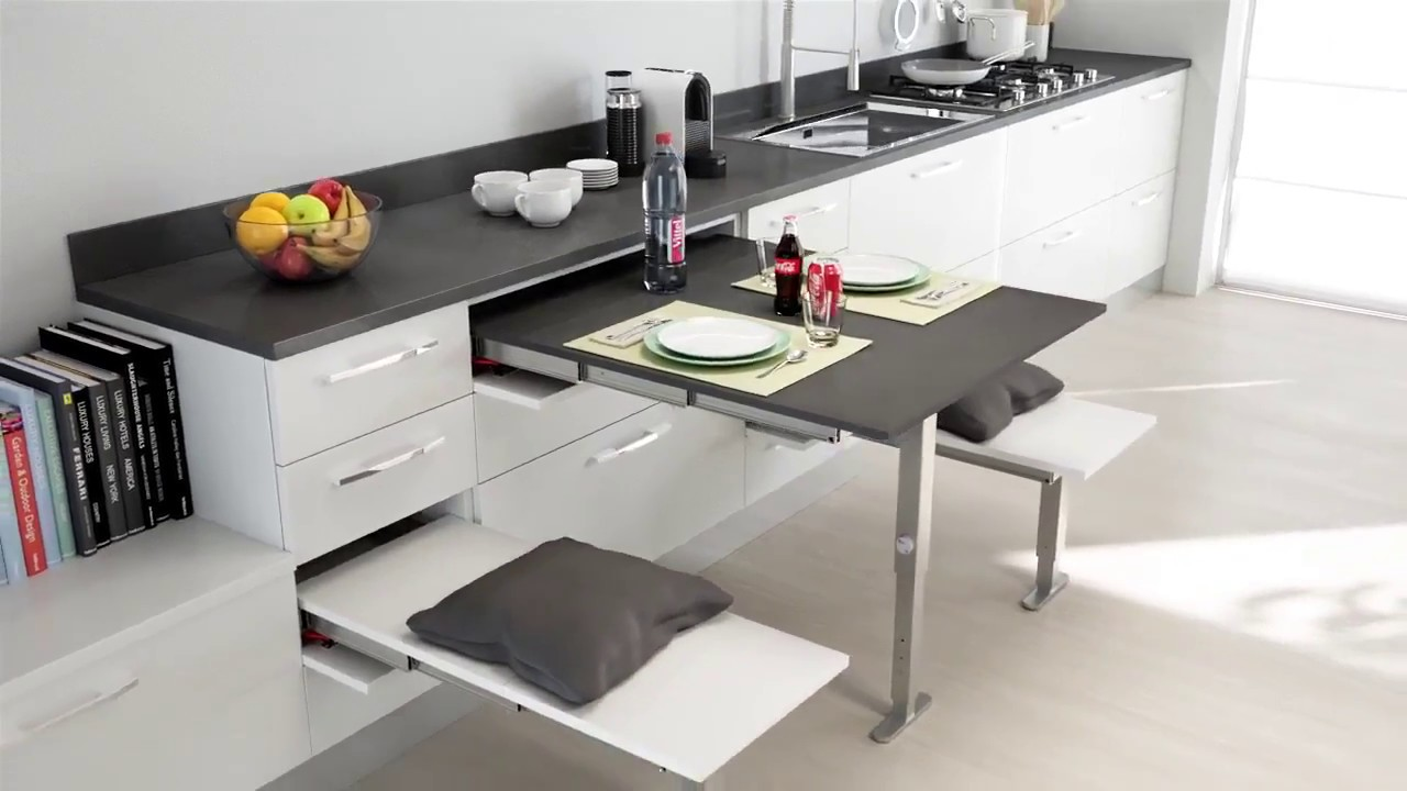Kitchen Island Stool Cafe Curtains Atim T-able Transformable Table - Youtube
