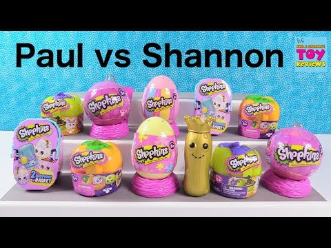 Paul vs Shannon Challenge Shopkins Holiday 2 Pack Edition Toy Review Game | PSToyReviews