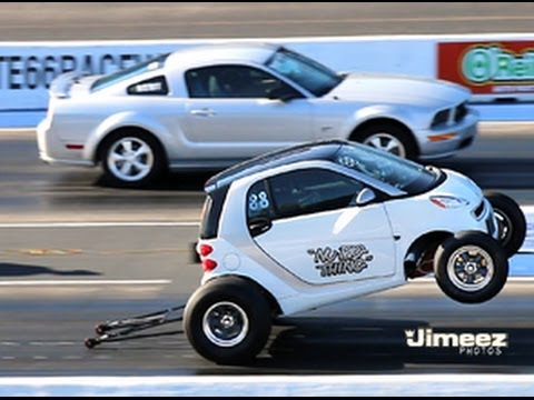 """NU BIG THING"" SMART CAR 462ci BBC VS GT MUSTANG AT RT66"