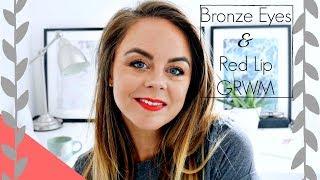 Bronze Smokey Eyes and Red Lips GRWM