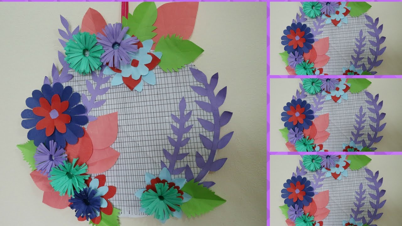 Diy wall decoration with paper at home how to make paper flower diy wall decoration with paper at home how to make paper flower craft for wall decor amipublicfo Images