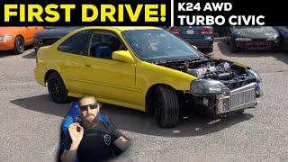 Pt.7 | LAMBO KILLER BUILD | 600HP AWD TURBO HONDA CIVIC | FIRST DRIVE!