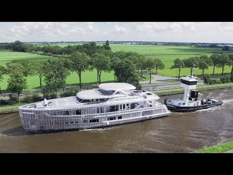 Mulder BN 105 superyacht on the move in the Netherlands