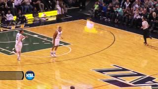 Dante Exum with Jimmer range three vs. Spurs