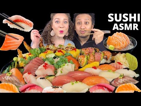 ASMR SUSHI RAW SALMON, TUNA, YELLOWTAIL NIGIRI/ SASHIMI & SUSHI ROLLS |SUSHI MUK