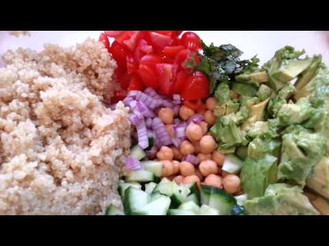 Quinoa, chickpea and avocado salad
