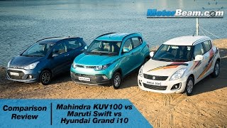 Mahindra KUV100 vs Maruti Swift vs Hyundai Grand i10 - Comparison Review | MotorBeam