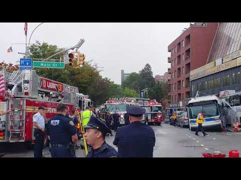 Major bus accident NYC MTA bus Flushing Main Street and Northern Blvd