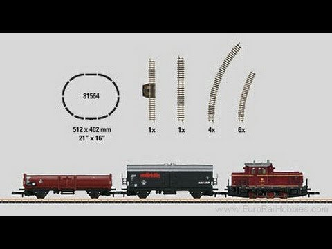 Z Gauge Marklin German Federal Railroad (DB) class V 60 diesel locomotive hauliing freight
