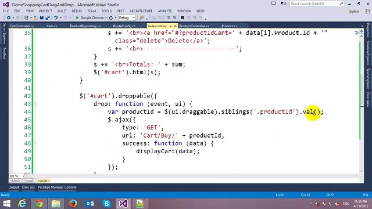 Drag and Drop Shopping Cart in ASP NET MVC and JQuery