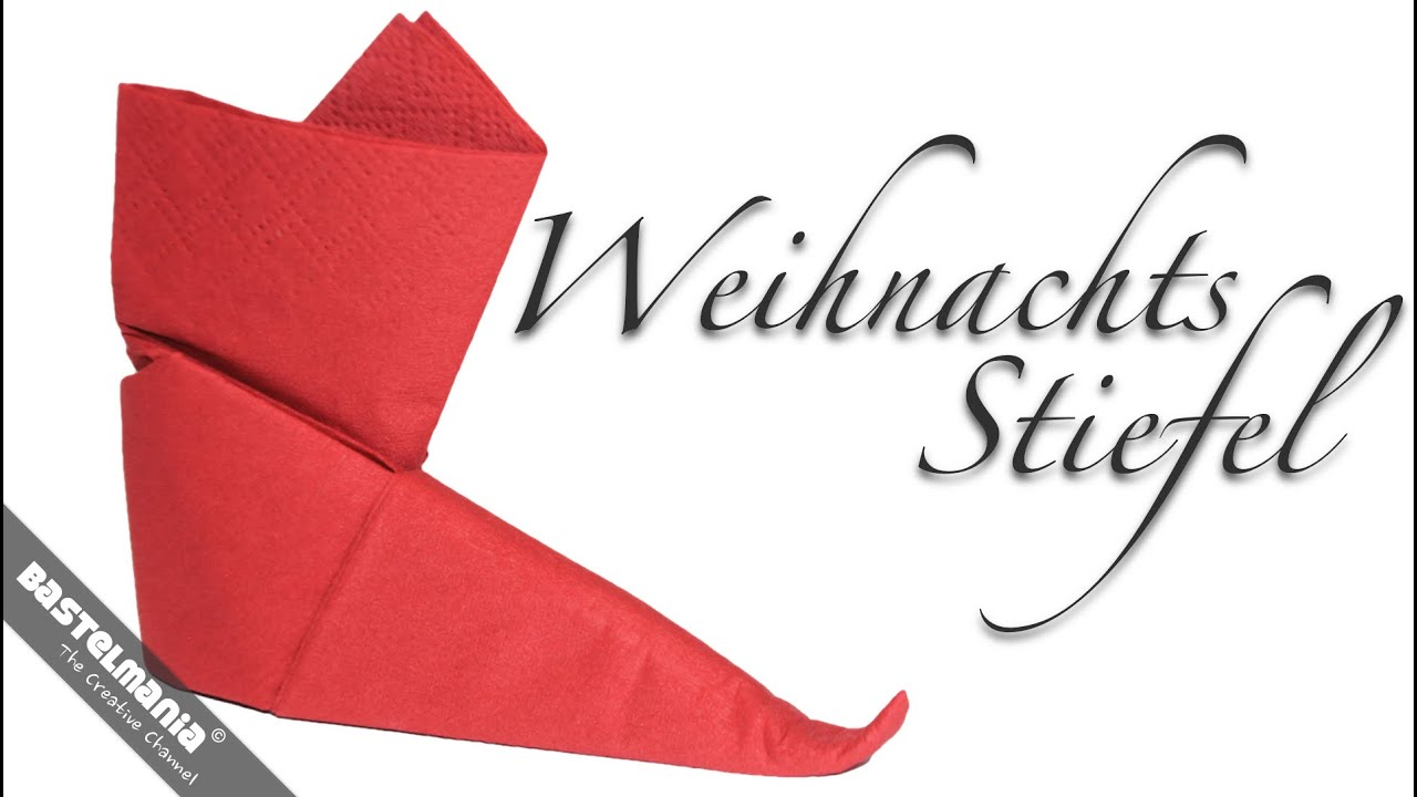 servietten falten anleitung stiefel weihnachten diy napkin folding instruction boots youtube. Black Bedroom Furniture Sets. Home Design Ideas