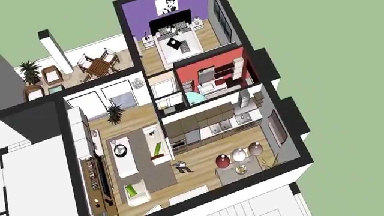 3D appartamento tipologia 55MQ - YouTube