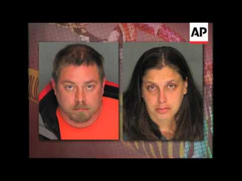 A husband and wife were arrested after an emaciated, terrified and nearly naked 17-year-old showed u