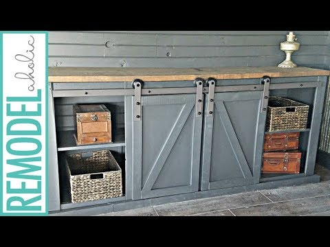 how to build a sliding barn door for a media cabinet youtube. Black Bedroom Furniture Sets. Home Design Ideas
