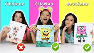 COLORINDO COM 3 CORES NA ESCOLA! Criança Criativa vs falsiane vs boazinha( 3 MARKER CHALLENGE!)