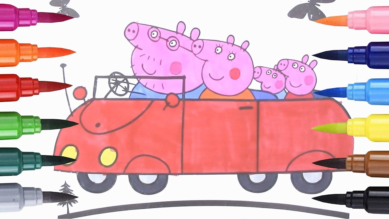 How to Draw The family car Peppa Pig Coloring Pages for Kids Learn ...