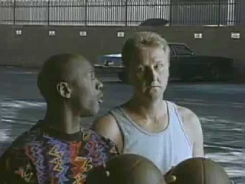 """The Showdown"" 1993 Superbowl Commercial with Larry Bird & Magic Johnson"