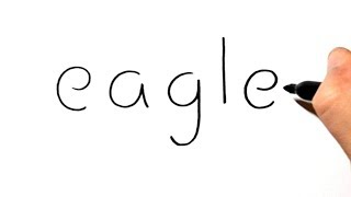 How to Draw an Eagle Using the Word Eagle - Cartoon Drawing for Kids